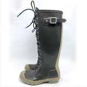 7a89ce87b Hunter · Hunter gloss Watling lace-up rain boots. Green